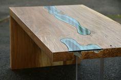 "Greg Klassen ~ Folded River Coffee Table …a single ""folded"" wood slab modern asymmetrical design, rivers of blue glass highlight the natural elements in the wood | big leaf maple, glass, plexiglass 34 x 15 x 16 in *one-of-a-kind* via gregklassen.bigcartel.com"