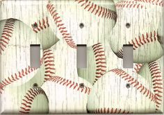 Distressed Baseball Baseballs Rustic Hand Made Light Switchplates/Outlet Covers
