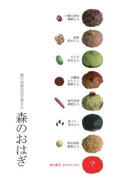 Variety of O'hagi, Japanese sweets   Osaka, Japan