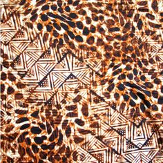 The Fabric Fairy Aztec Animal Print Nylon Lycra Swimsuit Fabric, Safari Brown