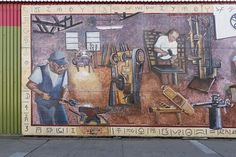 """Portion of the mural """"Domingos Blacksmith Shop,"""" painted in Lompoc, California, in 1995 by artist Suzanne Cerney of Santa Barbara, California. 2013 photo. The Jon B. Lovelace California Collection in photographer Carol M. Highsmith's America Project, Library of Congress Prints and Photographs Division."""