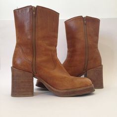 vintage 70s cowgirl honey leather platform boots by vintspiration