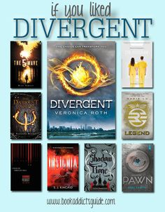 If You Liked... Divergent // Looking for the next book to read after DIVERGENT? Here are a handful of recommendations on what to pick up next! (from The Book Addict's Guide) #yalit #dystopian #divergent