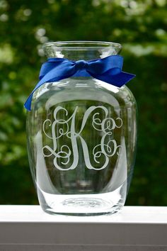 Monogrammed etched vase - The perfect hostess gift!