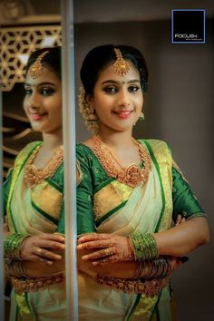 bridal jewelry for the radiant bride Kerala Bride, South Indian Bride, Indian Bridal, Indian Wedding Couple Photography, Bridal Photography, Makeup Photography, Saree Wedding, Wedding Bride, Bridal Sarees