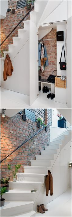 Trendy Home Decored Ideas Stairs Space Saving Closet Under Stairs, Space Under Stairs, Open Stairs, Under Stairs Cupboard, Under The Stairs, Staircase Storage, Stair Storage, Staircase Design, Storage Under Stairs