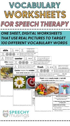 These vocabulary worksheets give multiple exposures to both tier 1 and tier 2 vocabulary words.perfect for providing direct vocabulary instruction during speech and language therapy! They're evidence-based, effective, and take absolutely no prep work - just print and go! This file includes worksheets to target 100 different vocabulary words so you'll have print and go, no-prepvocabulary worksheets that will last you for many years! #speechtherapyvacabularyactivities #vocabularyactivities New Vocabulary Words, Vocabulary Instruction, Vocabulary Worksheets, Teaching Social Skills, Teaching Strategies, Receptive Language, Speech And Language, Teaching Autistic Children