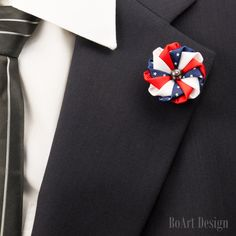 Patriotic Lapel Pin/ Kanzashi Flower Lapel Pin with Swarovski Clear Crystal /Independence Day Lapel/Pin/Lapel Flower/Men Lapel Flower/Brooch by BoArtDesign on Etsy