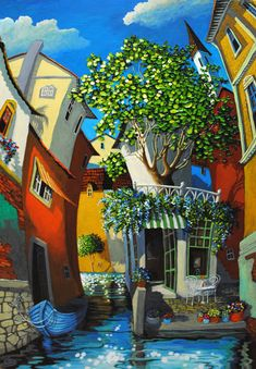 "Miguel Freitas: ""Flower Shop Cafe"", acrylic on board."