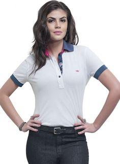 blusa polo principessa branca naiza Camisa Polo, Kurti, Collars, Ideias Fashion, Girl Fashion, Clothes For Women, V Neck, Mens Tops, T Shirt