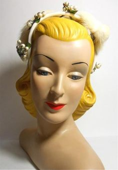 Winter Berry Topped Velvet Headband Hat circa 1960s - Dorothea's Closet Vintage