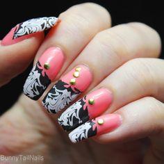 BunnyTailNails: Sanna Tara Nail Art - Saffron 21 + 48 + 56... Just Peachy!