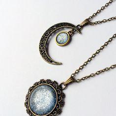 Ice Blue Necklace crescent moon necklace sun by AChicFairytale