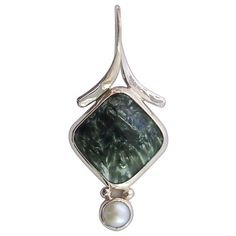 Serifinite Pendant with Pearl Accent Set in Sterling Silver  psrff1763   lunarskies - Jewelry on ArtFire