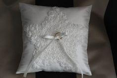 Star motif, ivory silk dupioni, ring bearer, wedding pillow.