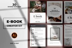 Modern Abstract Ebook Templates by andrewtimothy on Envato Elements Creative Market, Creative Studio, Printable Lables, Free Printable, Magazine Collage, Book Creator, Magazine Crafts, Checklist Template, Brand Guidelines