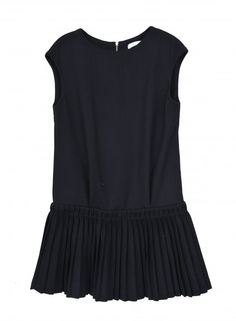 Robe mi-courte col rond sans manche fermeture zip au dos bas du robe à plis - See u soon