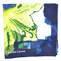 23723b734900 Christian Lacroix Silk Square Scarf Navy Blue Lime Floral from Como Milano