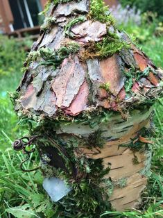 Lovely little handmade fairy house made from gathered bark and moss. House Made, Create Yourself, Unique Gifts, Fairy, Handmade, Crafts, Etsy, Hand Made, Manualidades