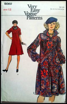 Vogue 9060 Misses' Dress 1970's Size 12 by ThePatternShopp, $10.00