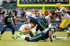 Defensive end Chris Clemons has registered 4.0 sacks of QB Aaron Rodgers, tying a franchise single-game record set by Jacob Green, Michael Sinclar, Michael McCrary, and Darryl Tapp.    The Seahawks have 8.0 total sacks, three shy of the franchise record... in the first half.