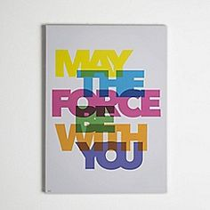 Star Wars - Neon Star Wars Abstract May the Force Be With You Printed Canvas Wall Art