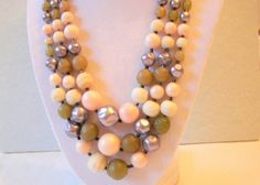 Vintage Triple Strand Beaded Necklace by SeagullSmithJewelry, $20.00