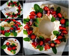 I love the idea of baking a pavlova in a ring instead of a circle - so much easier to cut! But turning it into a Christmas Berry Wreath Pavlova is genius! Christmas Lunch, Christmas Cooking, Noel Christmas, Christmas Desserts, Christmas Treats, Father Christmas, Anna Pavlova, Christmas Pavlova, Snacks