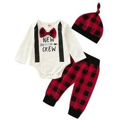 Made with the best cotton and finest polyester and is very breathable. Now you can dress your little ones and make them even cuter with these new designs which are available now. Gentleman, Trendy Kids, New Year Gifts, Red Fashion, News Design, Boy Outfits, Overalls, Rompers, Lettering