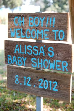 Baby Shower Sign   Hand Painted Sign  (could make myself with additional boads with aqua chevron)