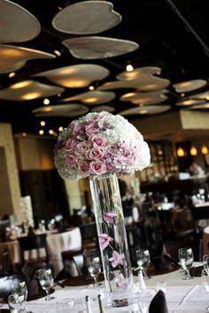 table centerpiece - soft shades of rose layered