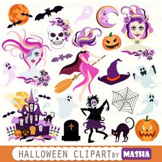 Halloween clip art: HALLOWEEN CLIPART with witch от MashaStudio