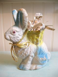 Vintage Easter Rabbit Paper Mache Shabby Chic Vintage Easter Decor Antique Rabbit Easter Bunny Original Patina Display Prop Shabby White