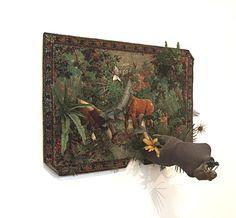 Détrompe l'oeil – Forêt vierge. La jungle ou Hommage au Douanier Rousseau (1963), Daniel Spoerri.  Musée d'art moderne de Paris. Vu le 30 juillet 2013.