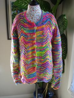 Ready to ship/ GORGEOUS RAINBOW Hand Knitted Casual Style by ufer on Etsy