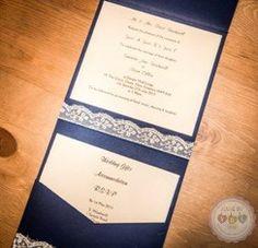 Bespoke lace pocketfold invites, designed by me