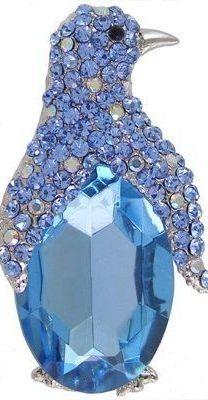ec662e688d8b Ice Blue Sapphire and Diamond Penguin Brooch
