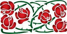 Prickly Rose. Set om 6 st. • modell till väggar. Grossist av stenciler. • handla online på Internet