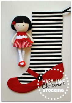 Mary Jane Christmas Stockings - Black and White Stripes