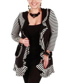 Another great find on #zulily! Black & White Stripe Ruffle Open Cardigan - Plus by Aster #zulilyfinds