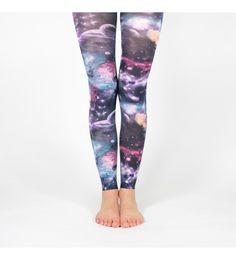Legging galaxie multicolore, motif planètes et voie lactée