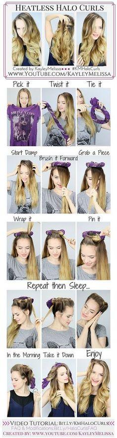 video tutorial: http://myawsomeoutfits.blogspot.com/2015/07/heateless-halo-curls-how-to-diy.html