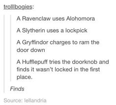 I would most probably be in Ravenclaw, and this is wrong... before using any spell to unlock it, a Ravenclaw would try the door and check if the key is hidden under the mattress or something... only after eliminating all other possibilities of opening the door and only if the door is locked, would a Ravenclaw try Alohomora