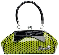 I need more sexy rockabilly/pinup style in my life, don't you? The Violet Vixen - Floozy Purse Green Polka Dot, $44.00 (http://thevioletvixen.com/accessories/bags/floozy-purse-green-polka-dot/)