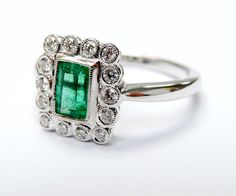 Green with envy; this Ring is Gorgeous!  #Edwardian Inspired #Emerald #Diamond