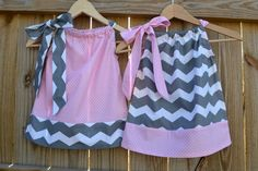 TWINS or Sisters Coordinating Grey Chevron and by ThreeHSisters, $48.10