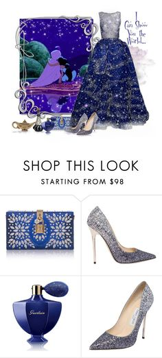 """""""A Whole New World - Aladdin"""" by love-n-laughter ❤ liked on Polyvore featuring Disney, Murad, Dolce&Gabbana, Jimmy Choo, Guerlain, Judith Leiber and disney"""