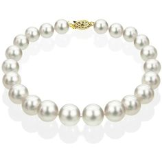 DaVonna 14k Gold White Akoya Cultured Pearl Bracelet ($91) ❤ liked on Polyvore featuring jewelry, bracelets, yellow, yellow bracelet, yellow gold bangle, gold bracelet, white gold bangle and white bracelet