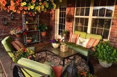 our colorful spring patio, decks patios porches, outdoor living Outdoor Rooms, Outdoor Living, Outdoor Furniture Sets, Outdoor Decor, Outdoor Patios, Porch Furniture, Outside Living, Decks And Porches, Backyard Patio