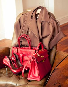 Garance Dore by The Coveteur - Jacket, Max Mara; Shoes, Lanvin; Red Bag with Knot, Reed Krakoff; Red Bag with Gold Hardware; Hermès